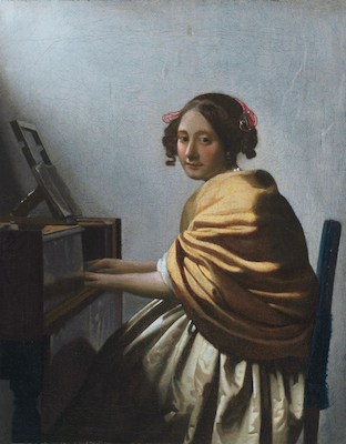 A young woman seated at the virginal, by Johannes Vermeer